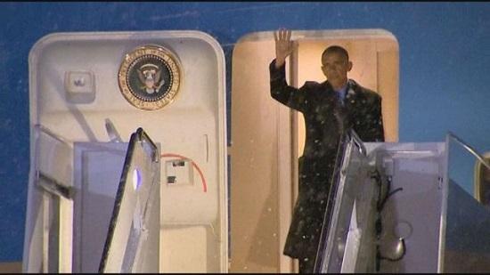اوباما در برف گرفتار شد+ عکس